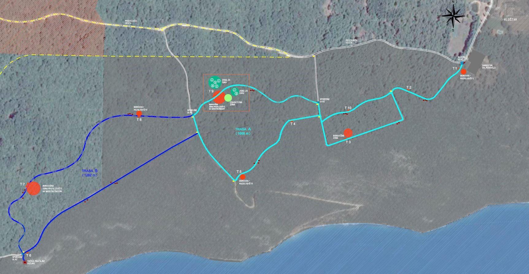 Tlocrtni prikaz staze – cjeline A i B čine kružnu stazu dugu 3 km